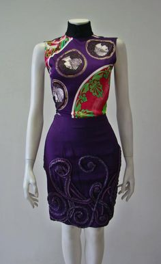 Unique Atelier Versace Hand Embroidered Silk Skirt 1990's