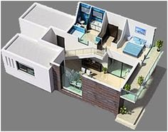 3D home plans. Three bedroom modern house, second floor
