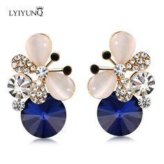 ヨーロッパとアメリカのファッションbrincosブランドゴールドジュエリーかわいいラインストーン蝶ブルーイヤリングクリスタルスタッドピアス
