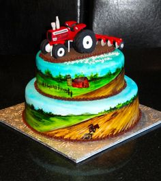 Delicious specialty cakes, cupcakes, and desserts for any occasion. Tractor Birthday Cakes, 60th Birthday Cakes, Tractor Cakes, Red Tractor, Birthday Parties, Wedding Cakes With Cupcakes, Cupcake Cakes, Zombie Wedding Cakes, Dad Cake