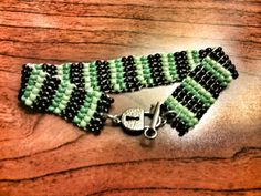 Beadwork Bracelet   Green and Black Seed Bead by DuMoments on Etsy