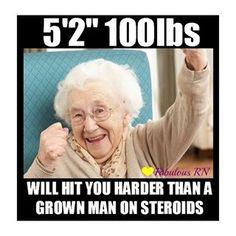 52 Will hit you harder than a grown man on steroids Nurse humor Nursing funny Registered Nurses RN Nursing meme Nurse Jokes, Funny Nurse Quotes, Nursing Memes, Funny Memes, Nursing Quotes, Funny Nursing, Funny Sayings, Icu Nurse Humor, Paramedic Humor