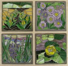 Wetland Plants of Oregon - 2 still available at Artists Co-op Gallery in Lincoln City OR Mosaic Wall Art, Mosaic Glass, Stained Glass, Glass Art, Mosaic Flowers, Porcelain Tile, Oregon, Mosaic Ideas, Gallery