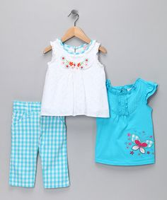 Take a look at this Blue Gingham Capri Pants Set - Infant, Toddler & Girls by Nannette on #zulily today!