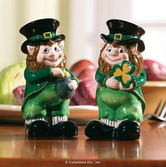 "Lovable Irish Leprechaun Salt & Pepper Shaker Set By Collections Etc by Collections Etc. $9.99. Each measures 4 1/2""H. All decked out in their old fashioned Irish duds. Set of two ceramic ""wee folk"" shakers. Each has a clear rubber stopper in its bottom to remove for refilling. Let this magical pair spice up your St. Patrick's Day celebration. Let this magical pair spice up your St. Patrick s Day celebration. Set of two ceramic wee folk shakers are all decked out in t..."