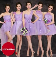 Find More   Information about Light Purple Bridesmaid Short Tulle Mini Romantic Color Dress Party Dress For bridesmaid 6 Mixed style Bridesmaids Dresses,High Quality  ,China   Suppliers, Cheap   from Princess Sally International Co.,Ltd. on Aliexpress.com