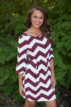Burgundy Chevron 3/4 Sleeve Dress - The Pink Lily Boutique
