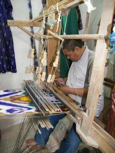 Ikat weaving, Bokhara. Photographer Suzanne Spahi.  Rug study tour to Uzbekistan