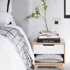 A stylish and sophisticated bedroom featuring a Mocka Jesse Bedside Cabinet. Photo by Tarina Lyell.