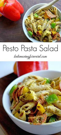 Pesto Pasta Salad - An easy and healthy pasta salad with whole grains, fresh veggies, pesto, and mozzarella cheese. The perfect side dish for summer picnics and barbecues! Healthy Pasta Salad, Pesto Pasta Salad, Healthy Salad Recipes, Drink Recipes, Delicious Recipes, Vegan Recipes, Tasty, Yummy Food, Summer Salad Recipes