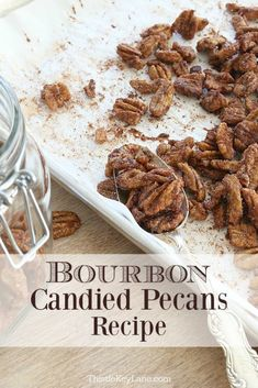 Try bourbon candied pecans for a special holiday snack or addition to your favorite dishes. Candied Pecans Recipe, Glazed Pecans, Spiced Pecans, Roasted Pecans, Candied Nuts, Bourbon Pecans Recipe, Cinnamon Recipes, Pecan Recipes, Snack Recipes