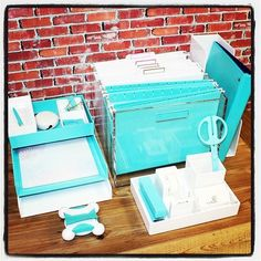 Cool aqua and white desk accessories from Poppin, Russell + Hazel