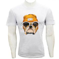 Camiseta Skalle Cachorro Branco e Marrom   Zattini