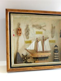 January Sale Vintage Nautical Sailboat Diorama by Digvintageshop, $28.80
