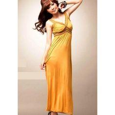 Yellow Cotton Maxi Long Dress
