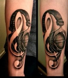 Elegant tattoo design, reflecting the owners love of music.