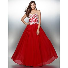 TS+Couture+Prom+Formal+Evening+Dress+-+Color+Block+A-line+Sweetheart+Floor-length+Chiffon+with+Appliques+–+CAD+$+212.52