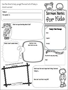 CHSH - Sermon Notes for Kids_there are several different versions on this site