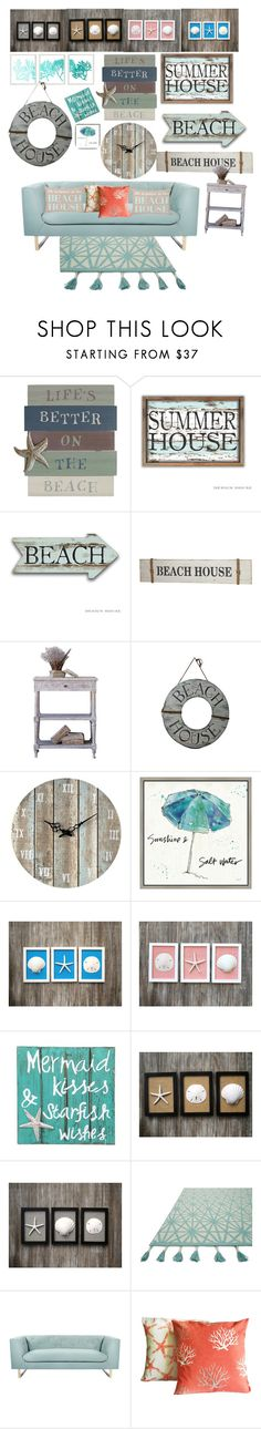 """Beach house"" by bec64 ❤ liked on Polyvore featuring interior, interiors, interior design, home, home decor, interior decorating, Sterling, Green Leaf Art, NOVICA and Loloi Rugs"