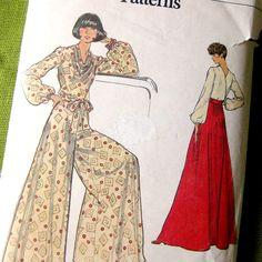 1970s Palazzo Pants Maxi Skirt Wrap Top Pattern  by SelvedgeShop