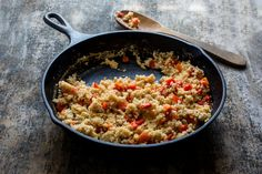 One thing I like best about this savory polenta is that if you do have leftovers, you can reheat them or grill them for quick meals, or even eat the leftovers cold. Take them to work or pack them in a lunchbox. I have made this dish two ways: In the first, shown here, roasted peppers are stirred into the millet halfway through. In the second version, peppers and onions are sautéed with garlic. (Photo: Andrew Scrivani for The New York Times)