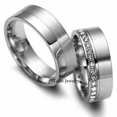 His & Hers Mens Womens Matching 10K White  Gold Wedding Bands Rings Set  7mm/6.5mm Wide Sizes 4-12  Free Engraving New by TallieJewelry on Etsy