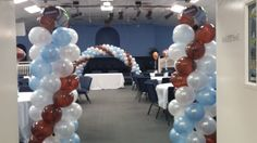 My Sports Theme Baby Shower Balloon Columns and Arch