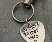 Hero Father Silver Key Chain for Military Solider Deployment, Gift For Army Dad, Personalized Gift For Veteran, Guitar Pick Key Chains,