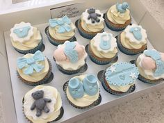 Blue boy baby shower cupcakes