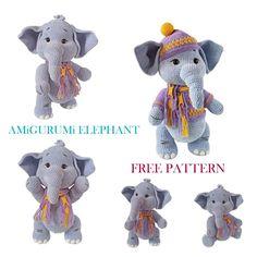 Cute Elephant, Free Crochet, Free Pattern, Dinosaur Stuffed Animal, Crochet Patterns, Teddy Bear, Toys, Animals, Amigurumi