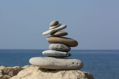 beach, sea, coast, water, nature, sand, rock, ocean, wood, stone, thinking, statue, reflection, relax, tower, symbol, balance, pebble, meditate