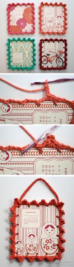 Crochet around cardboard!
