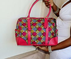 Pink Tote Bag, Large Ankara Tote Bag With Leather Straps,  African Print Fabric,Tote, Women Handmade  Tote, Gift For Her By Zabba Designs
