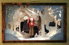 Cut paper at Anthropologie - holiday windows Window Display Winter Window Display, Window Display Design, Store Window Displays, Retail Displays, Shop Displays, Anthropologie Display, Anthropologie Christmas, Anthropologie Usa, Retail Windows