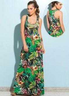 Vestido Longo Estampa Tropical - Posthaus