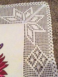 orillas para manteles a crochet Crochet Bolero Pattern, Crochet Bedspread Pattern, Crochet Lace Edging, Crochet Borders, Crochet Cross, Crochet Home, Thread Crochet, Filet Crochet, Crochet Doilies