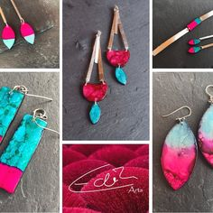 #thinkpink#collage#polymerclay #edithartsdesigns# etsy Artisan Jewelry, Pink, Collage, Pendant Necklace, Drop Earrings, Etsy, Instagram, Jewlery, Collage Art