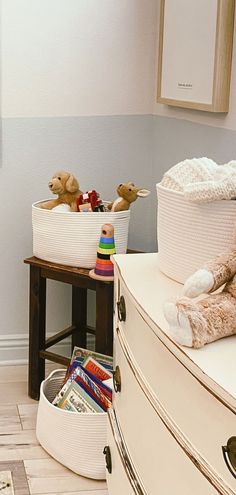 Charming and stylish these versatile storage organizer bins come in 7 exclusive colors to match your home closet or style including 3-tone gray, blue/off-white, rainbow/off-white, pink/off-white, brown/off-white, gray/black, gray/honey, gray/off-white, honey/off-white, light honey/off-white, black, and white Cube Shelves, Basket Shelves, Storage Shelves, Storage Baskets, Rope Basket, Basket Weaving, Organizer Bins, Organization, Nursery Room