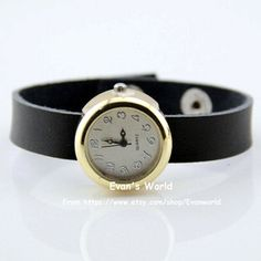 Men Woman Black Leather Golden yellow Wristwatch by Evanworld, $15.99 Beautiful handmade watches, gifts.