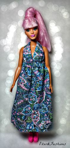 Curvy Barbie Dress - Long granny dress for Curvy Barbie. This outfit will also fit the  modern, Tall, Vintage, and My Scene Barbie.
