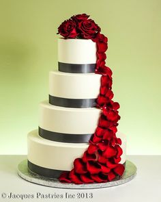 Ivory  Gray Wedding Cake with Red Rose Petal Cascade - this is our runner up choice (if we choose the one-cake option)