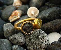 Hammered Handmade Designer Coin Ring W/ Rough Uncut Yellow Garnet By Ferimer