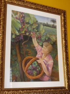 LUISA D'ACRI --   Trabalho em Pastel seco - 2011 - Colhendo uvas no sul do Brasil