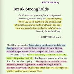 Everyone has strongholds. With God's help, I broke free from smoking 10 years ago. I know he can help you let go of ANYTHING. Even alcohol, jealousy, drugs, and hate. Prayer Scriptures, Faith Prayer, Bible Verses Quotes, Faith Quotes, Godly Quotes, Spiritual Inspiration, Quotes About God, Spiritual Quotes, Spiritual Thoughts