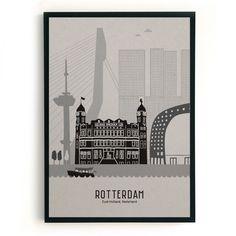 Poster Rotterdam | grijs karton