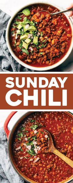 The BEST Sunday Chili! Thick, saucy, hearty chili that get slow-simmered for the BEST comforting winter dinner.