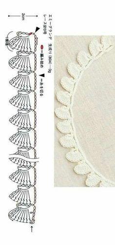 Crochet Border Patterns, Crochet Lace Edging, Crochet Diagram, Crochet Designs, Crochet Stitches, Crochet Cord, Crochet Baby, Crochet Minecraft, Crochet Headband Pattern