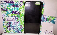 iPhone 6 Wallet Case in a Green, Blue, & Purple with White Flowers Print