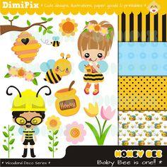 Big Sister To Bee tshirt idea. Sweet honey Bumble bee Honey Bee Clip art and Digital by DimiPix Bee Clipart, Flower Clipart, Bee Party, Party Kit, Bumble Bee Honey, Bee Images, Painting Templates, Kawaii Illustration, Clip Art