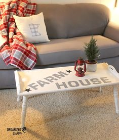 Farmhouse Stenciled Coffee Table Old Sign Stencils organizedclutter.net
